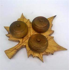 Picture of Поднос за подправки с 3 купички дърворезба